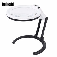 Beileshi Foldable Llluminated Magnifier LED 2X 6X Magnification Loupes High Quality Optical Acrylic Lens Read Assistance