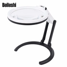 Beileshi 110V 240V Table Magnifier LED Lighted Magnifying Glass Lamp Magnifying 1 8X 5X Desktop Magnifier