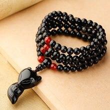 Браслет из натурального камня с лисой браслет черного обсидиана