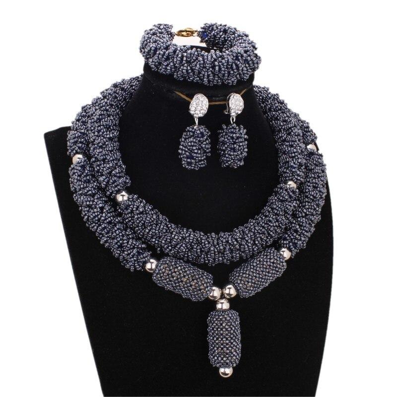Luxueux bijoux fins ensembles pour femmes gris Nigeria perles ensembles bijoux boules audacieuses africain Dubai bijoux ensemble livraison gratuite 2018