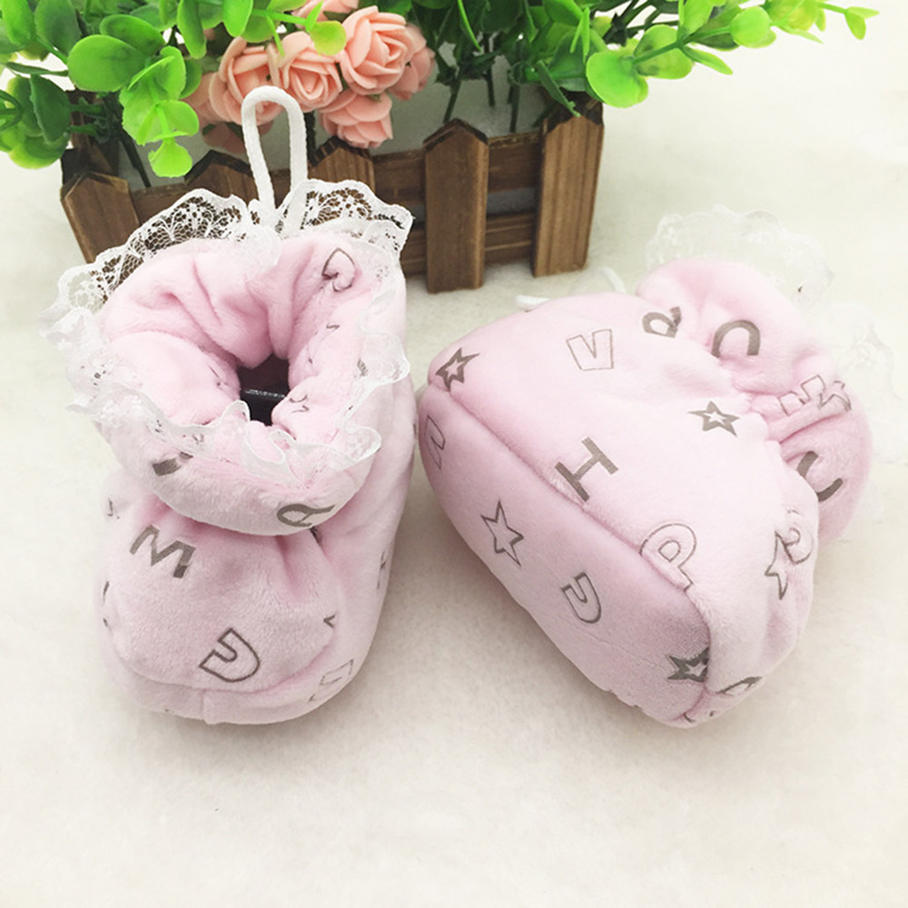 Newborn Shoes For Girls Winter Cute Snow Boots Winter Warm Soft Toddler Shoes Anti-slip Sock Bottom Cute Kids Todder Boot T0089