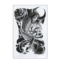 1Pcs Hot Black Fish Waterproof Tattoo Stickers On Arm On The Body Fake Tatoo Sleeve For Women Body Art Temporary Tattoos On Hand
