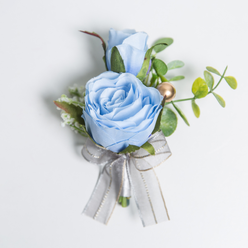 JaneVini Blue Flower Boutonniere Men Groomsmen Artificial Rose Wedding Corsage Bridesmaid Hand Flower Set Brooch Boutonnieres