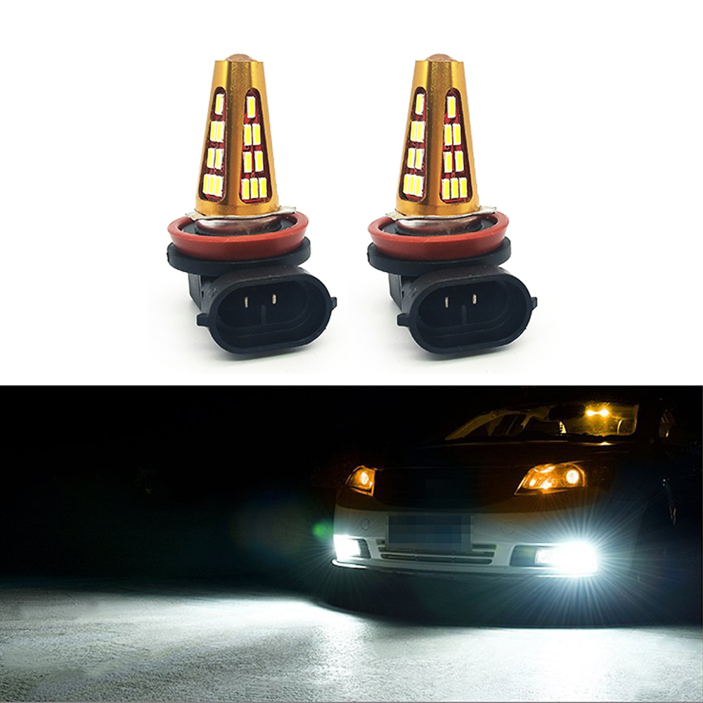 Welback Extremely Bright H8 H11 41 SMD 4014 LED Fog Light Bulbs with Projector for DRL led lights or Fog Lights 6000K White new 1pc h4 100w led 20 smd projector fog driving drl light bulbs hid 6000k white light c45