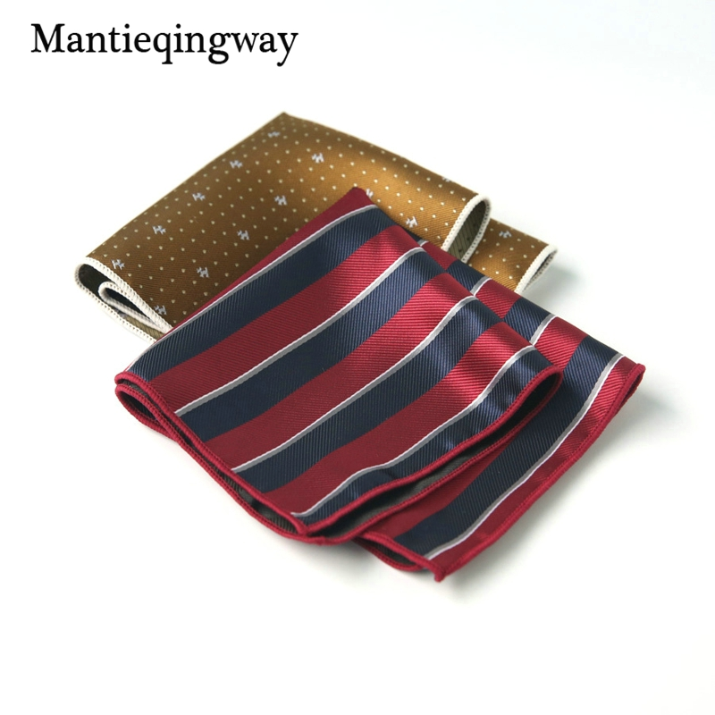 Mantieqingway Fashion 24cm Mens Handkerchief Suit Business Polyester Pocket Square Party Hanky For Men Brand Striped Chest Towel