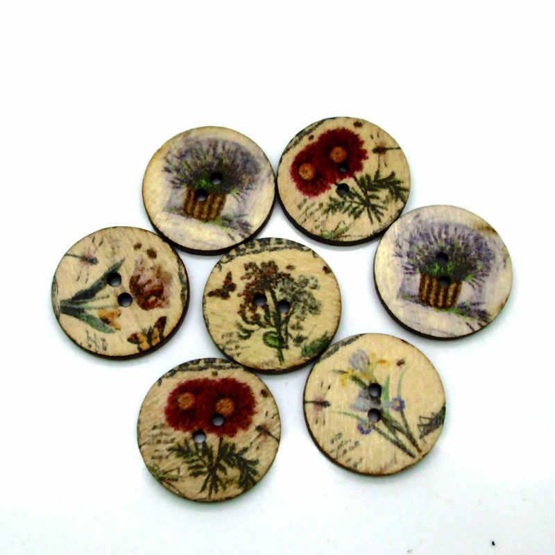 50 sztuk 20mm mieszane okrągłe Frower drewniane guziki na ubrania rzemiosło szycia dekoracyjne robótki Scrapbooking DIY akcesoria