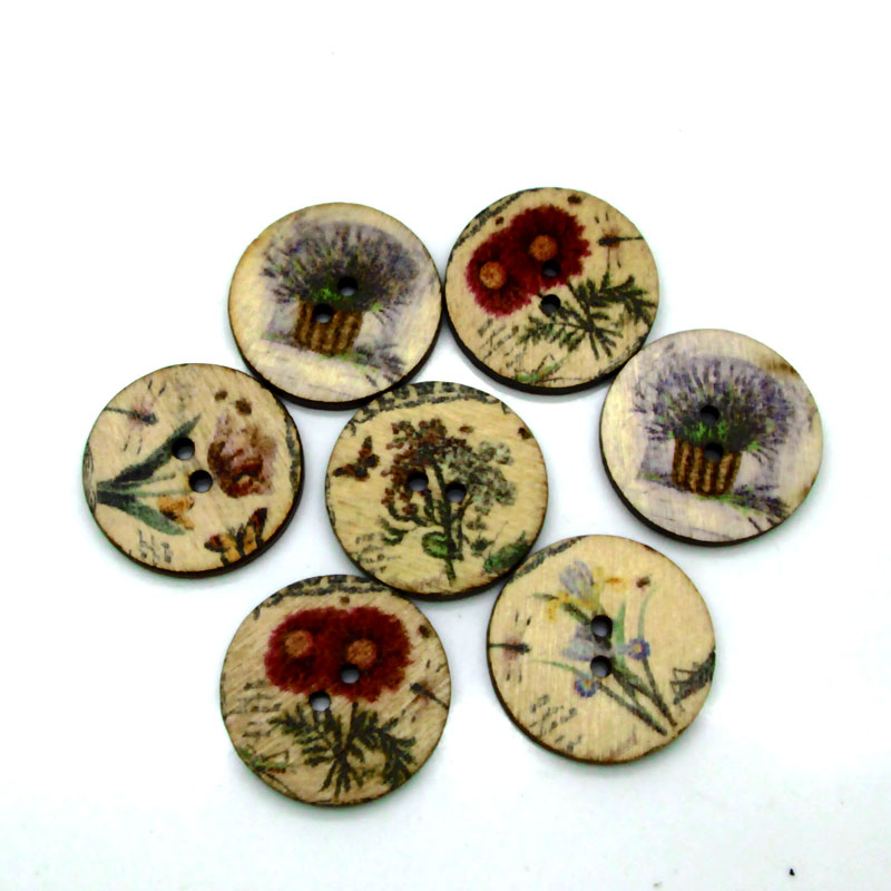 50pcs 20mm Mixed Round Frower Wooden Buttons For Clothes Crafts Sewing Decorative Needlework Scrapbooking DIY Accessories