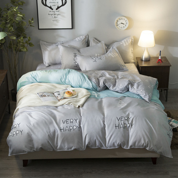 Pine Tree and Letter printing Bed set AB Side different color blue and gray bedding set with 2 pillowcases bedsheet linen set