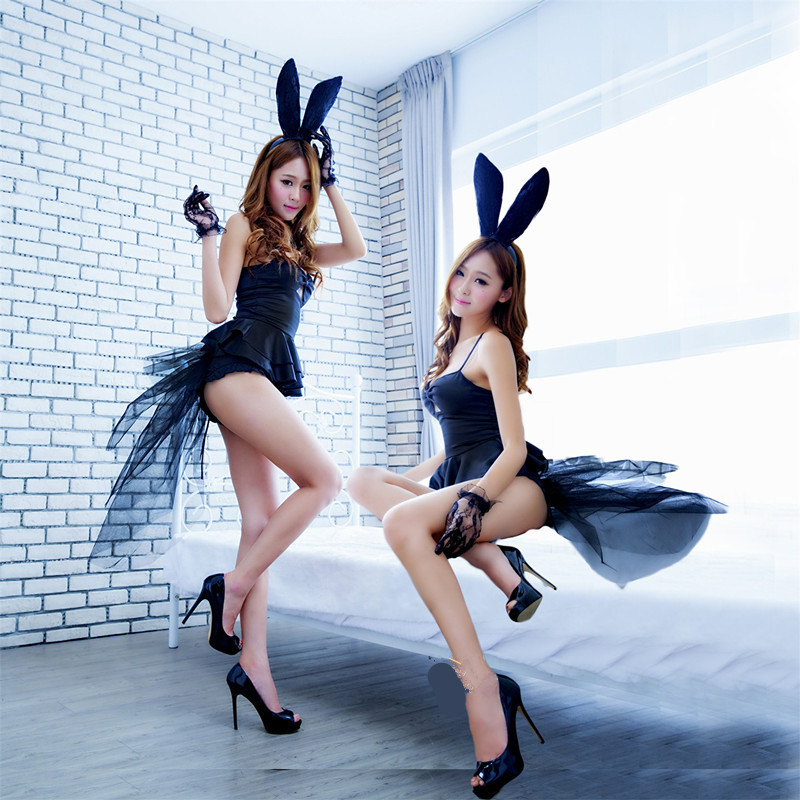 Bunny Girl Costume Nightclub Performance Bunny Suits Sexy Costumes Girls Cosplay Satin Top Yarn Swallowtail Naughty Club Costume girl