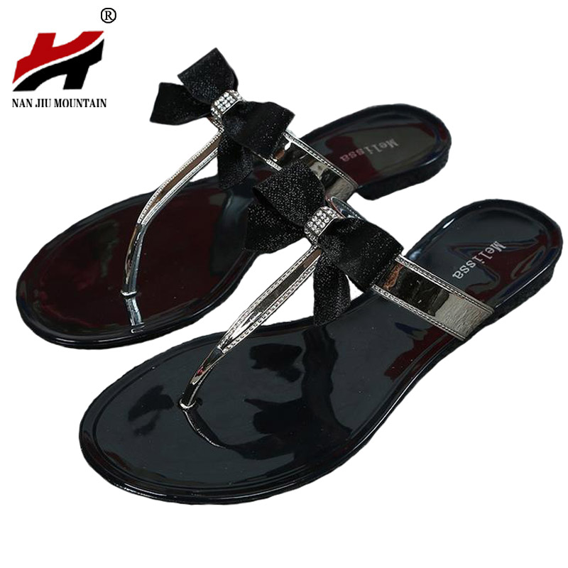Shes Women 2017 New Summer Women Flip Flops Slippers Flat Sandals Bow Rivet Fashion Pvc Crystal Beach Shoes Ladies Summe Slides купить