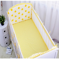 3D Air Mesh Bumpers Newborn Bedding Set Baby Crib Bed Linens Cartoon Pattern Cot Sheet Quilt Pillow With Filling High Quality