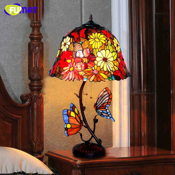 FUMAT Table Lamp Stained Glass Shade European Style Retro Butterfly Desk Hotel Bar Living Room Bedside LED Light
