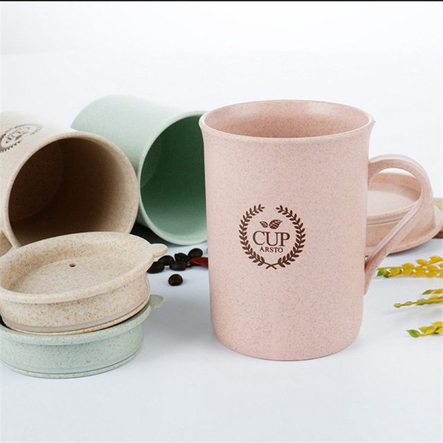 Fashion 320ml Coffee Mugs Tea Cup Wheat Straw Round Plastic Tumblers Cup Mugs Water Bottle Kettle Home Office Tableware Tools
