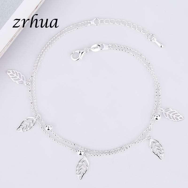 ZRHUA Vintage Fashion 925 Silver Anklets For Women Bohemian Summer Beach Evil Eye Chain Bracelet Foot Jewelry Wholesale Gifts 5