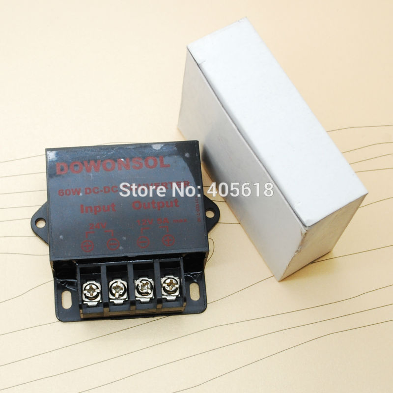 Wholesale 5pcs  60W/5A 24V to 12v dc converter for cars High efficiency free shipping браслеты skye браслет цепочка с черным кругом