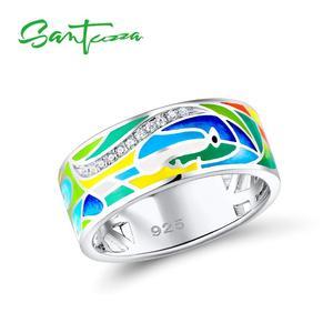 Image 1 - SANTUZZA Silber Ring Für Frauen 925 Sterling Silber Gesicht Ringe für Frauen Shiny Weiß CZ Bunte Emaille Partei Mode Schmuck