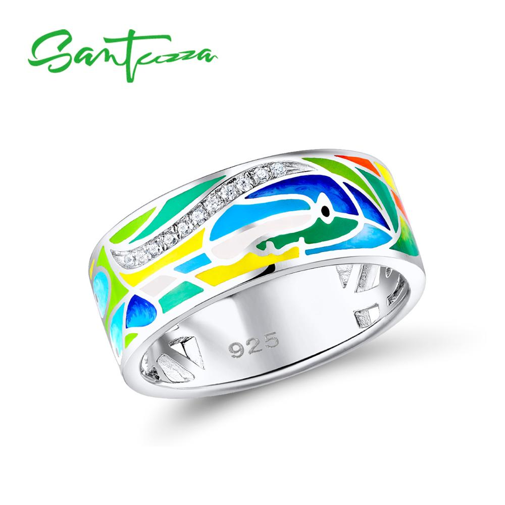 SANTUZZA Silver Ring For Women 925 Sterling Silver Face Rings for Women Shiny White CZ Colorful Enamel Party Fashion JewelrySANTUZZA Silver Ring For Women 925 Sterling Silver Face Rings for Women Shiny White CZ Colorful Enamel Party Fashion Jewelry