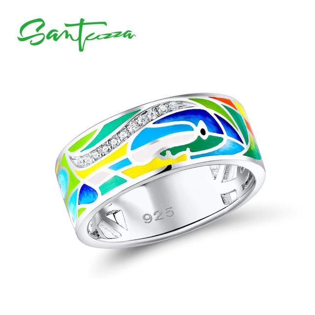 SANTUZZA Silver Ring For Women 925 Sterling Silver Face Rings for Women Shiny White CZ Colorful Enamel Party Fashion Jewelry