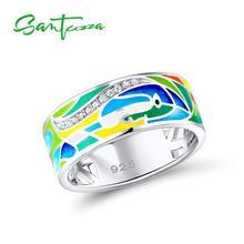SANTUZZA srebrny pierścionek dla kobiet 925 srebro pierścienie twarzy dla kobiet błyszczące białe CZ kolorowe emalia Party biżuteria