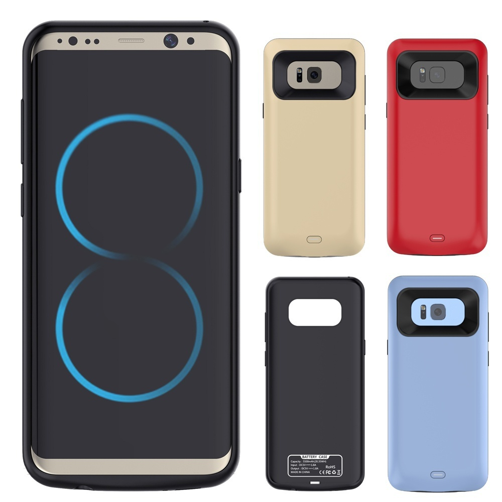 External TPU Back Power Bank Pack Battery Charger Case Cover For Samsung Galaxy S8 S8 Plus USB Cable Line