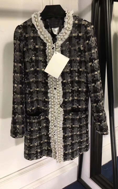 Haut Atmosphère Manteau Gamme Embellissement Mode Femme Boutique Style Reine Femelle Plaid De Blanc Hiver Femmes Perle 4xTwwaqI0c