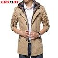 LONMMY 2016 Траншеи пальто мужчины С Капюшоном съемный Высокое качество однобортный Мужской пальто траншеи Ветровка Куртки для мужчин