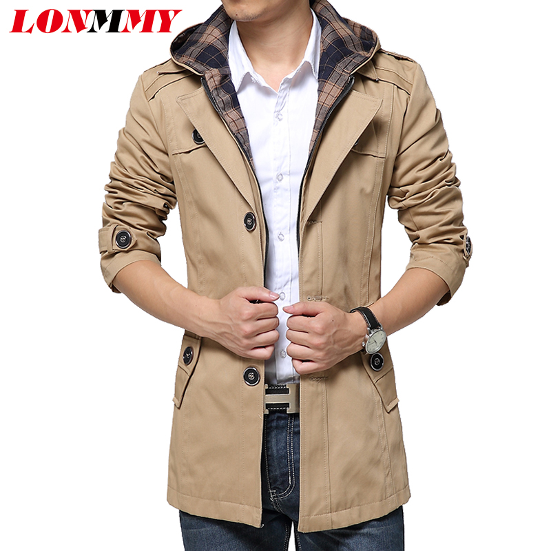 LONMMY 2017 Trench coat men Hooded detachable High quality Single-breasted Mens overcoat trench Windbreaker Jackets for men