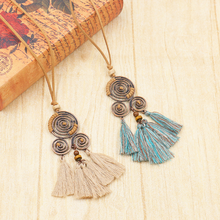 Vintage Ethnic Tassel Pendant Necklace Bohemian Long Leather Sweater Rope Chain Women Ladies Choker Jewelry Gift