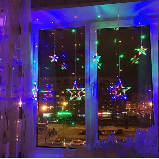 220v 2m led string lights christmas star wedding decoration lamp string star curtain christmas lights party