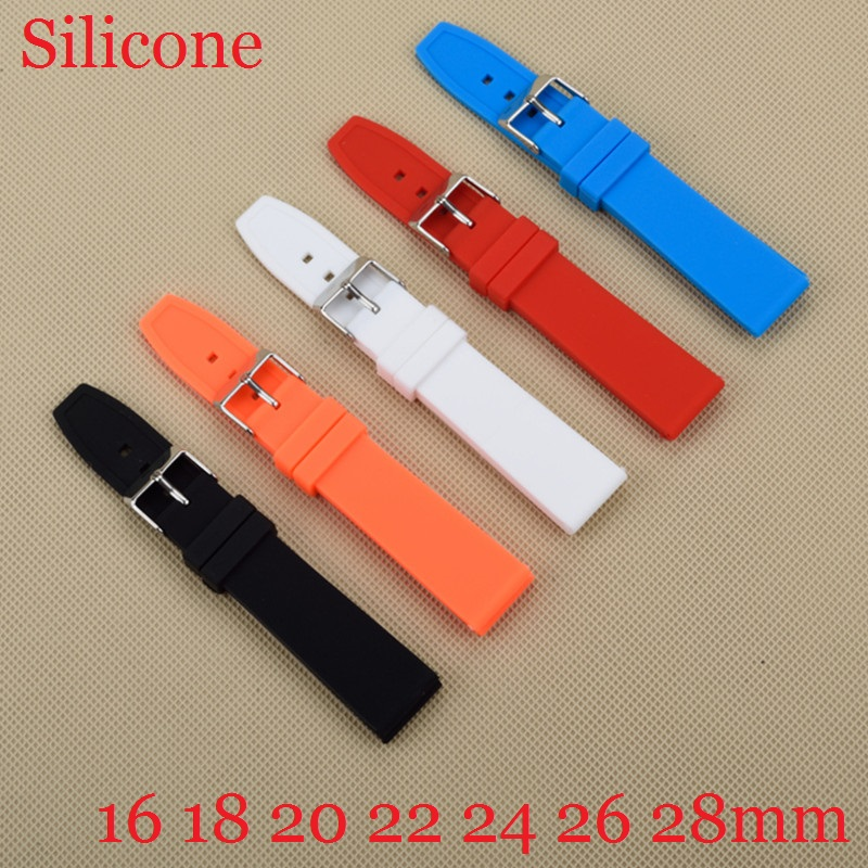 Rubber Silicone 16/18/20/22/24/26/28mm Solid Watch Black Red White Multi Color Army Military watchbands Strap Bands Buckle 20mm free shipping 16 18 20 22 24 26 28 7pcs 140g 100