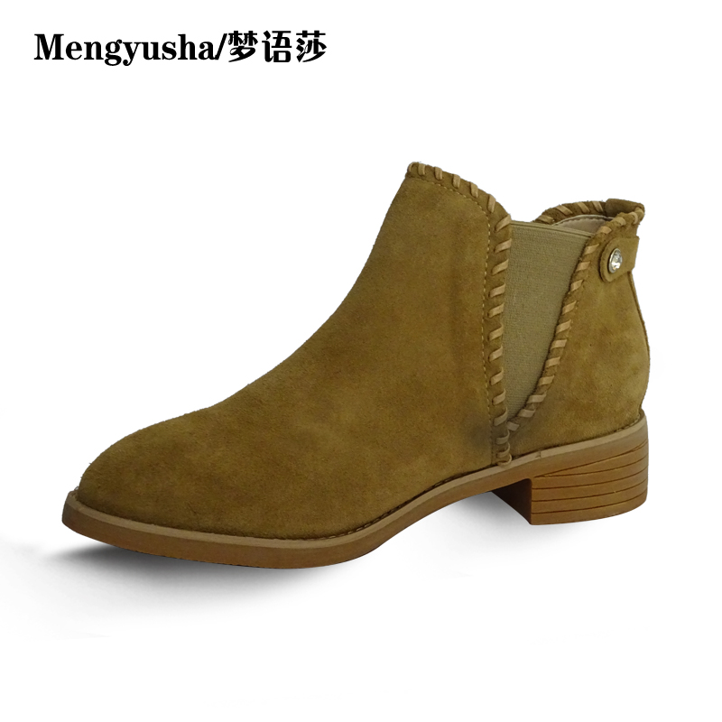 Mengyusha2018 autumn and winter new real leather with Chelsea boots Martin boots short boots female boots 2018 autumn