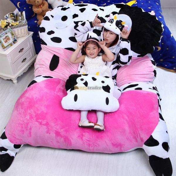 Fancytrader 200 см X 150 см Огромный Симпатичный Чучела Коровьего Молока Двуспальная Кровать Ковер Татами Матрас Диван для 2 Человек, бесплатная Доставка FT50332