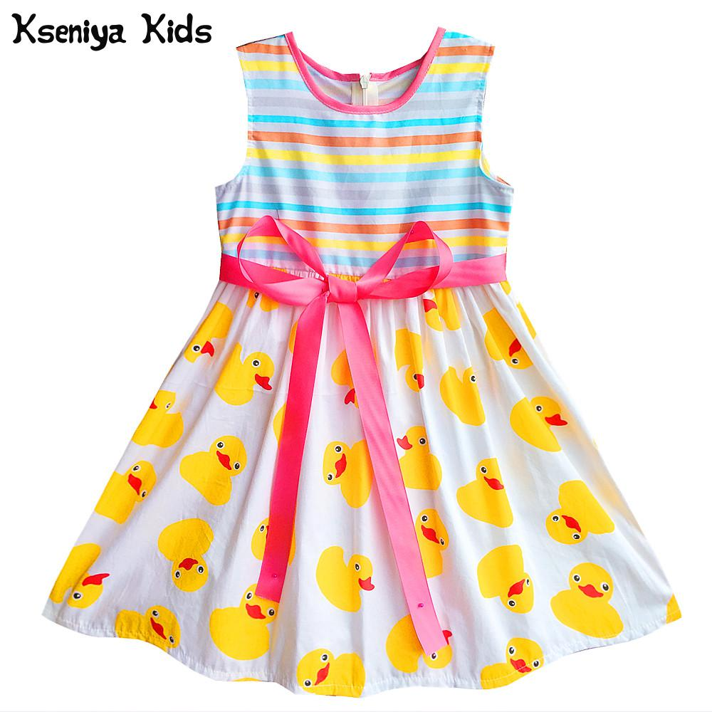 Kseniya Kids Baby Girl Summer Cotton Stripe Yellow Duck Print Sleeveless Cute Children Dress For Girls Party Dresses Clothes 2017 baby girls dress summer cherry print a line sleeveless princess dresses kids cotton party dress children clothes for 3 11y
