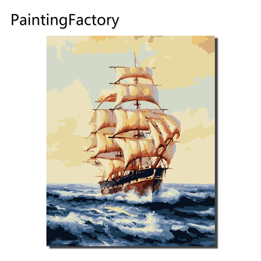 PaintingFactory Sailing Boat Painting By Numbers Drawing  Color Numbers Kits Paint On Canvas For Home Wall Art Picture drawing