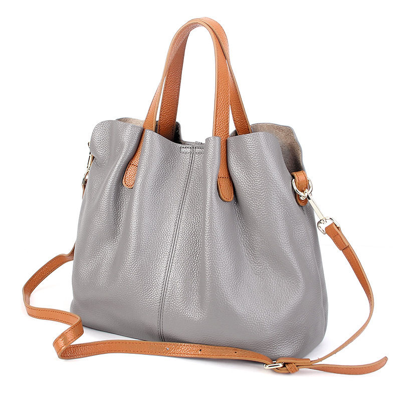 Genuine Leather handbags head layer cowhide litchi grain women handbags fashion Portable shoulder messenger bags composite bags fashion leather handbags luxury head layer cowhide leather handbags women shoulder messenger bags bucket bag lady new style