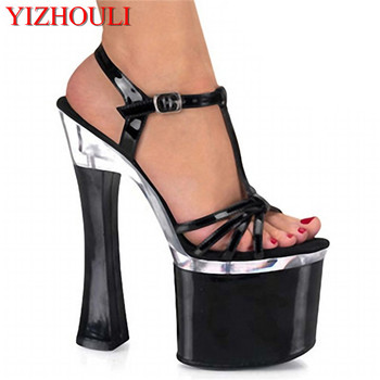 Square and sexy princess comfortable sandals, 18 cm high heels, 7 inch ankle buckled high heels
