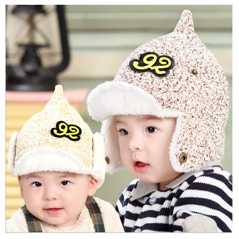 baby winter hat ear muff Imitation velvet baby hat for Girls Boys newborn photography props baby cap All For Children's Clothing