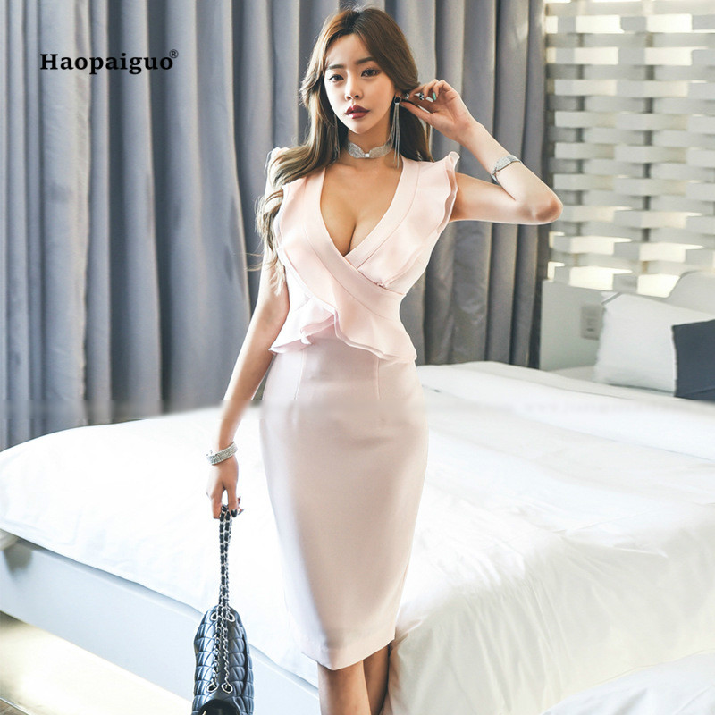 285c99e3331a6a Goede Kopen Zomer Potlood Jurk Vrouwen Roze Mouwloze Tank V hals Ruches  Elegante Koreaanse Kantoor Jurk Vintage Dames Jurken Moda Mujer 2018  Goedkoop