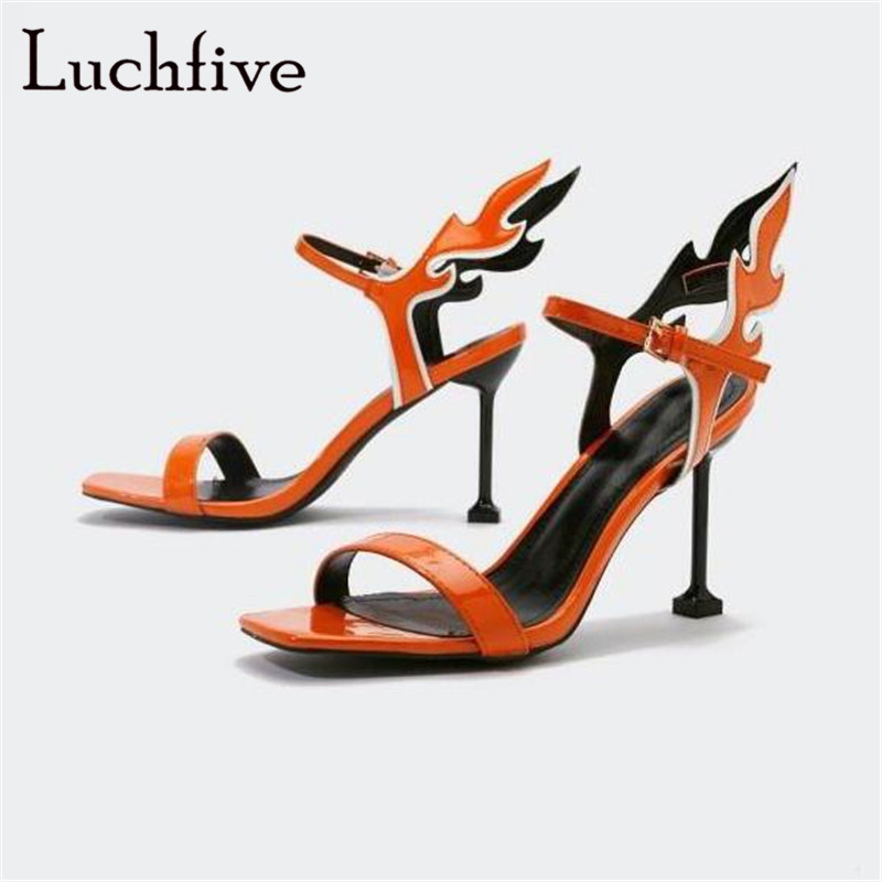 Fire-Shaped Ankle Buckle Strap Sandals Woman Genuine Leather Thin High Heels Party Shoes Orange Open Toe Sexy Shoes WomanFire-Shaped Ankle Buckle Strap Sandals Woman Genuine Leather Thin High Heels Party Shoes Orange Open Toe Sexy Shoes Woman