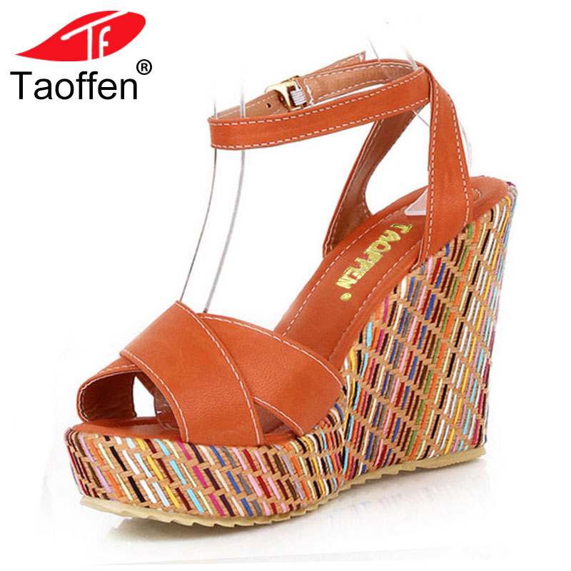 TAOFFEN Superior Qality Style Bohemian Wedges Women Sandals For Lady Shoes High Platform Open Toe Flip Flops Size 34-39 PA00658 ...