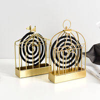 Nordic Glod Birdcage Mosquito Coil Holder Summer Days Iron Mosquito Repellent Incenses Rack Plate Home Decoration