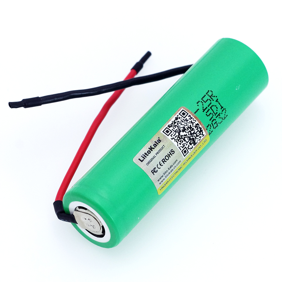 1pcs/lot LiitoKala For <font><b>Samsung</b></font> New <font><b>18650</b></font> 2500mAh Rechargeable battery 3.6V INR18650-<font><b>25R</b></font> 20A discharge + DIY Silica gel Cable image