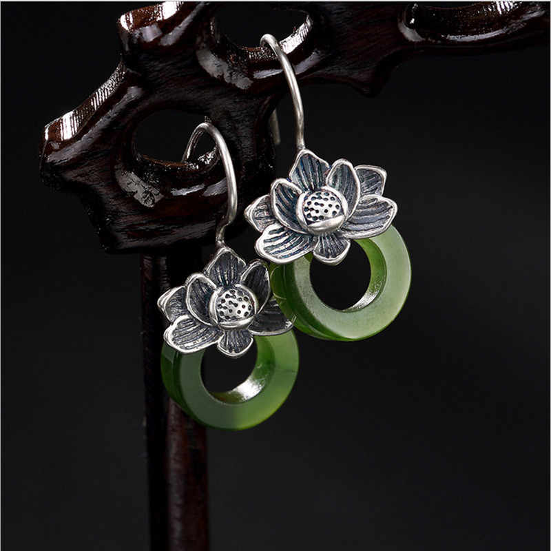 Uglyless S 925 สีเขียวธรรมชาติหยกวงกลมต่างหูผู้หญิง Vintage Lotus Brincos Handmade Jasper Bijoux