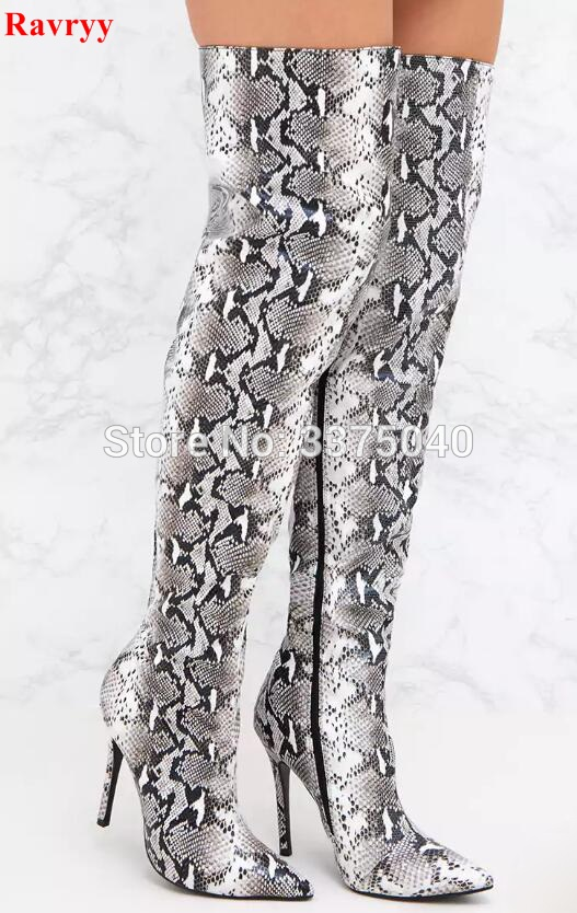 Ravryy Sexy Ladies Python Thigh High Boots Pointy Toe Stiletto Heels Snake Leather Long Women Boots High Heels Shoes Woman ravryy hot sale jeans boots summer shoes ankle boots for women boots denim boots high heels sexy peep toe shoes woman stiletto