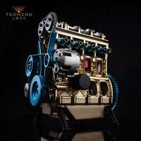 Полный металлический сборка четырехцилиндровый встроенный бензиновый двигатель модель строительные наборы для исследования промышленно