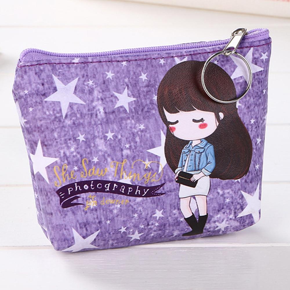 Cute Oxford Wallet Case Cartoon Coin Purse Waterproof Girls Wallet Small Handbag Tote Travel Portable Bag with Keyring