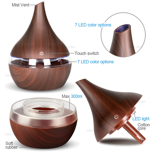 KBAYBO 300ml USB Electric Aroma air diffuser wood Ultrasonic air humidifier Essential oil Aromatherapy  cool mist maker for home 4
