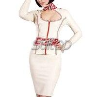 Резиновая с длинными рукавами топ с латекс юбка карандаш для женщин Sexy Nurse Костюм Косплей клуб униформа