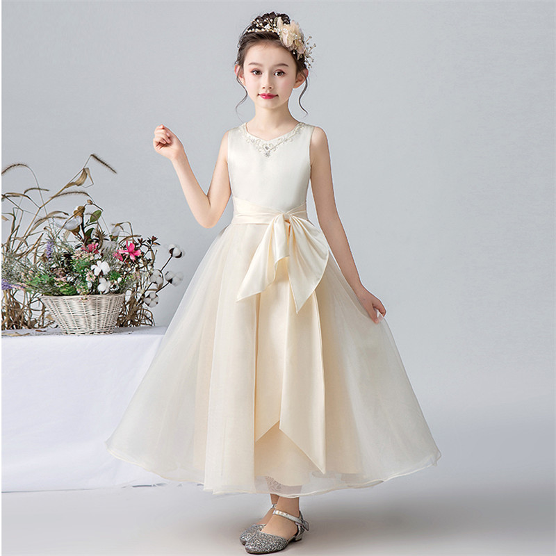Children Girls Luxury High-Quality Beige Color Evening Party Birthday Princess Long Dress Kids Infant Model Show Costume Dress