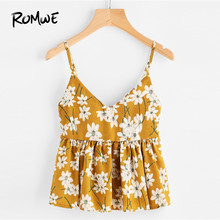7207e073a9 Romwe Sport Ginger Floral Print Babydoll Cami Crop Top Women 2019 Summer  Ruffle Spaghetti Strap Beach Vacation Vest Tops